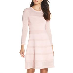 Vince Camuto Mix Stitch Pointelle Fit & Flare Dres